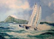 tableau marine course ,a la voile trimaran tempete : Pen-Duick IV