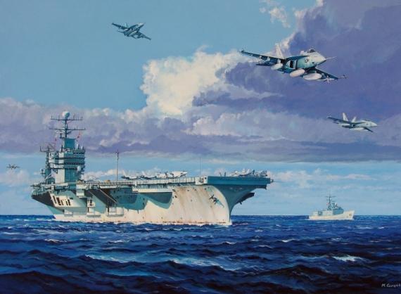 PAINTING US Navy Porte-avions Marine Marine Gouache  - USS Abraham Lincoln
