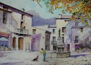 tableau paysages fontaine terrasse : Automne en Provence.