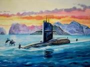 tableau marine us navy sousmarin d at coucher de soleil lofoten : Uss George Washington