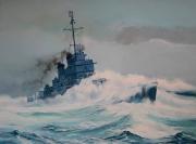 tableau marine destroyer us navy tempete : Destroyer US dans la tempête