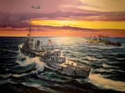tableau marine destroyer americain convoi atlantique : Destroyer US en convoi