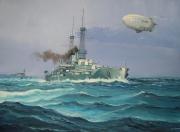 tableau marine us navy cuirasse ballon dirigeable 1ere guerre mondiale : USS New- York 1920