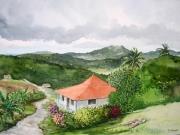 tableau paysages martinique collines vegetation rivierepilote : Maison sur le morne Préfontaine