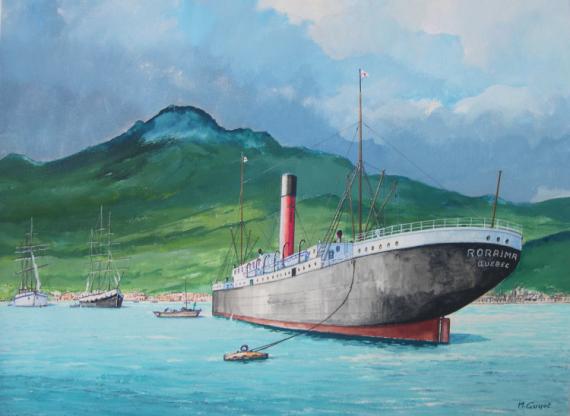 TABLEAU PEINTURE Montagne-Pelée éruption naufrage Marine Gouache  - Le vapeur Roraima