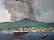 tableau scene de genre martinique montagne pelee vapeur roraima naufrage : L'éruption de la Montagne Pelée.