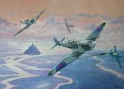 tableau scene de genre raf 2eme gm me 109 mont stmichel : Spitfire