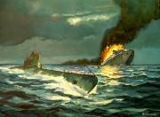 tableau marine naufrage paquebot sousmarin torpillage : Le torpillage du Wilhelm Gustloff