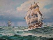 tableau marine marine ,a voile fregates tempete : Frégates 18ème en haute mer