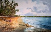 tableau paysages martinique plage tropicale les salines cocotiers : Douceur du soir aux Salines