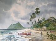 tableau paysages martinique pecheurs vent : Le Diamant en Martinique