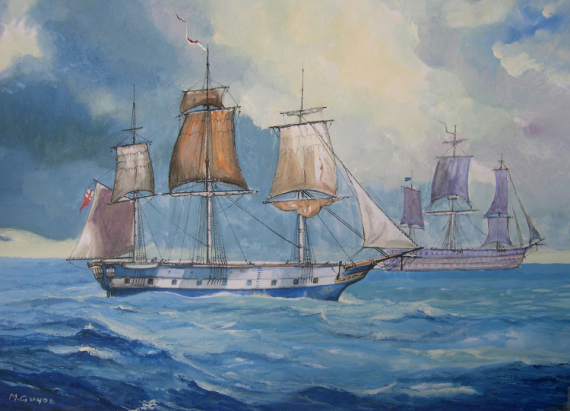 TABLEAU PEINTURE marine à voile Marine Gouache  - La frégate