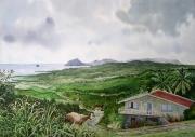 tableau paysages martinique mornes rocher du diamant mouton : Paysage de Martinique