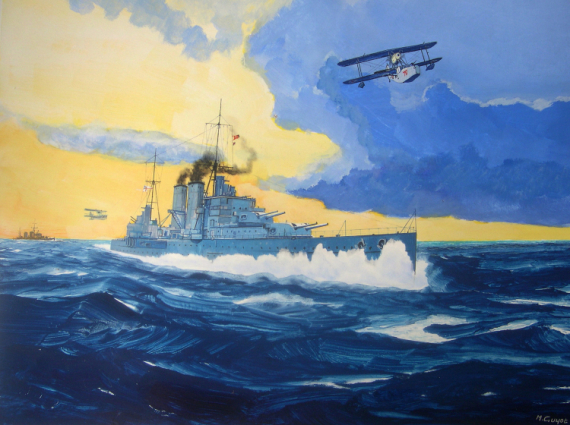 TABLEAU PEINTURE cruiser WW2 Rio de la Plata Pacific War Marine Gouache  - HMS Exeter