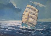 tableau marine trois mats voilier tempete : Mer cruelle.