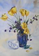 tableau fleurs bouquet tulipes pot de fleurs : Les tulipes jaunes