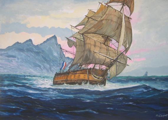 TABLEAU PEINTURE marine à voile Marine Gouache  - Toutes voiles dehors !
