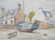 tableau marine greve barque : Marée basse en Bretagne.