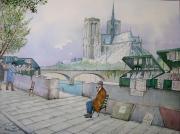 tableau villes paris ile de la cite seine : Les bouquinistes