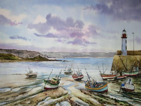 TABLEAU PEINTURE  - Marée basse à Erquy