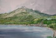 tableau paysages martinique volcan eruption antilles : Saint-Pierre et la Montagne Pelée
