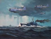 tableau marine us navy guerre du pacifique bombardier en pique : SBD Dauntless