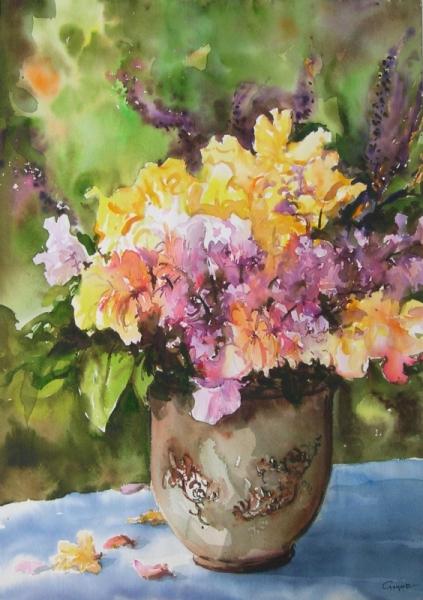 TABLEAU PEINTURE fleurs vase feuilles Fleurs Aquarelle  - En jaune et rose.