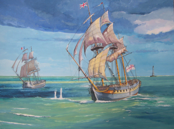 TABLEAU PEINTURE frégate marine à voile Marine Gouache  - Combat naval vers 1795.