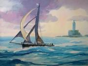 tableau marine mer d azur phare : Le voilier