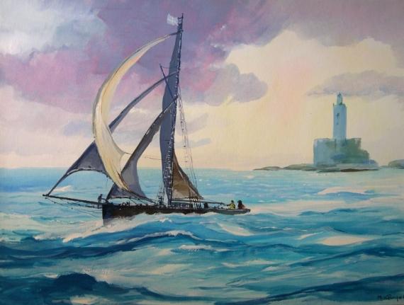TABLEAU PEINTURE mer d'azur phare Marine Gouache  - Le voilier