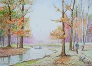 tableau paysages arbres etang chien : Couleurs d'automne.