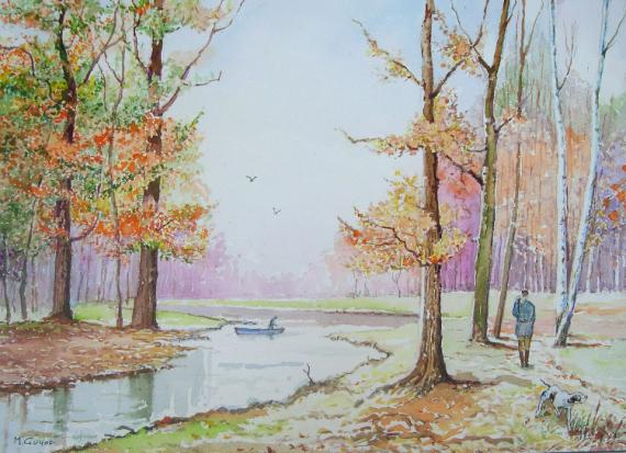 TABLEAU PEINTURE Arbres Etang Chien Paysages Aquarelle  - Couleurs d'automne.