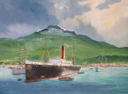tableau marine martinique montagne pelee eruption naufrage : Le vapeur Roraima