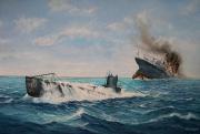 tableau marine lusitania naufrage 1ere guerre mondiale uboat : Le naufrage du Lusitania