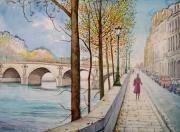 tableau villes paris la seine quai : Le pont Marie