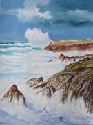 tableau paysages bretagne quiberon gros temps vagues : Tempête à Quiberon