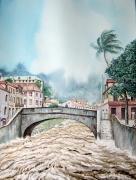 tableau paysages martinique ville de saintpierr roxelane pont de pierre : Saint-Pierre d'antan