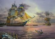 tableau marine marine ,a voile fregate coucher de soleil port : Frégate 18ème
