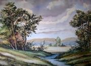tableau paysages arbres riviere collines : Campagne