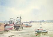 tableau marine bateau port bretagne : A marée basse.