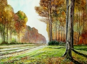 tableau paysages automne bois monet allee : Monet revisité à l'aquarelle