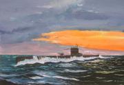 tableau marine kriegsmarine : Uboot au couchant.