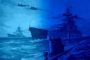art numerique marine kriegsmarine ww2 u boot clair de lune : Le croiseur Prinz Eugen