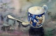 tableau nature morte porcelaine cuillere reflets : La tasse bleue