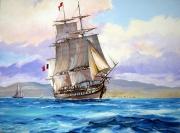 tableau marine marine ,a voile fregate : Frégate 18ème