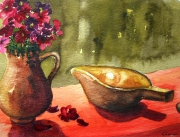 tableau nature morte vase anemones : Nature morte