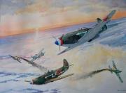 tableau scene de genre aviation russe pilotes francais yak 3 me 109 : Yak 3 Normandie-Niemen
