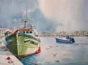 tableau paysages chalutier port de peche oiseaux : Port de Bretagne