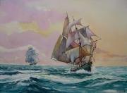 tableau marine saintmalo goelette marine ,a voile couchant : Voilier au couchant