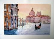 tableau villes grand canal la salute gondole : Venise